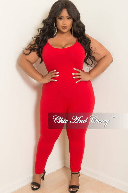 New Plus Size Spaghetti Strap Jumpsuit/Unitard in Red