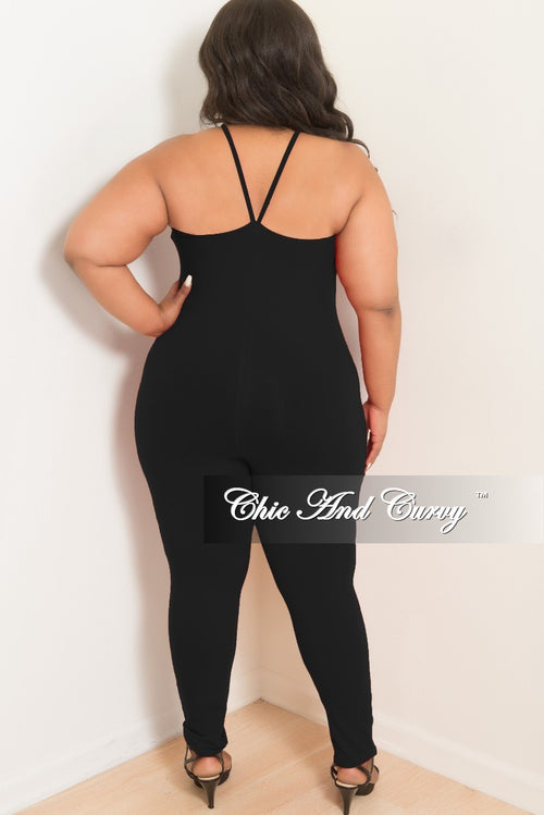 Final Sale Plus Size Spaghetti Strap Jumpsuit/Unitard in Black