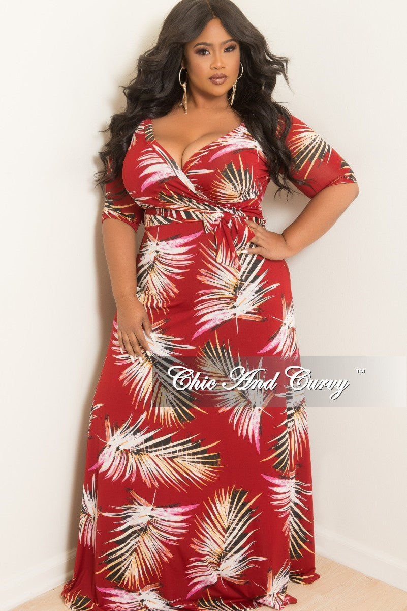 New Plus Size Faux Wrap Dress with 3/4 Sleeve and Attached Tie in Burgundy Leaf Print