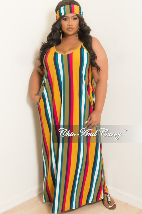 New Plus Size Spaghetti Strap Long Dress with Matching Head Wrap in Mustard Magenta Olive White and Turquoise Strip Print