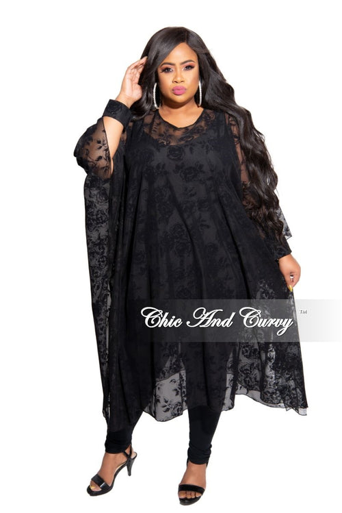 Final Sale Plus Size Lace Kaftan with Open Cuff Sleeves in Black