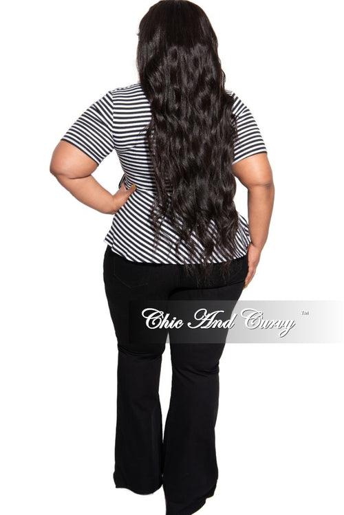 New Plus Size Faux Wrap Side Tie Peplum Top in Black and White Stripe Print