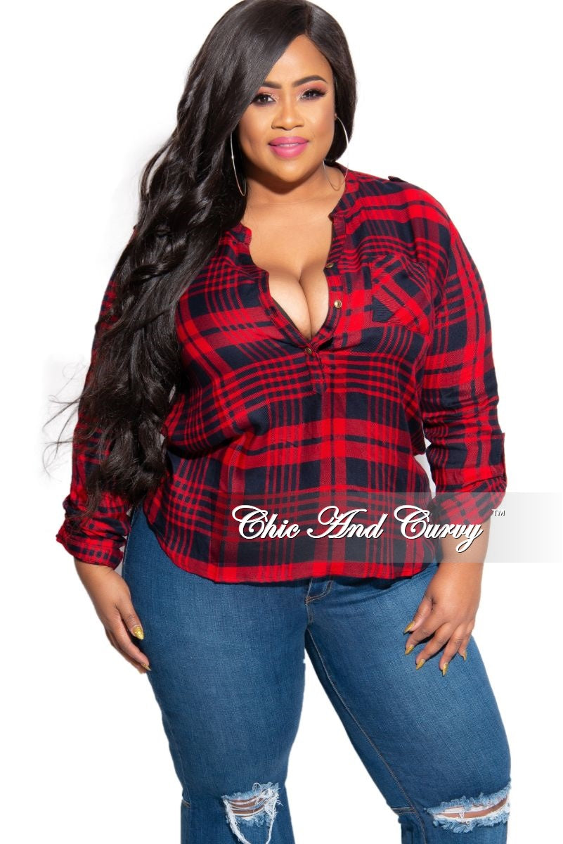New Plus Size Button Up Plaid Top in Red and Navy