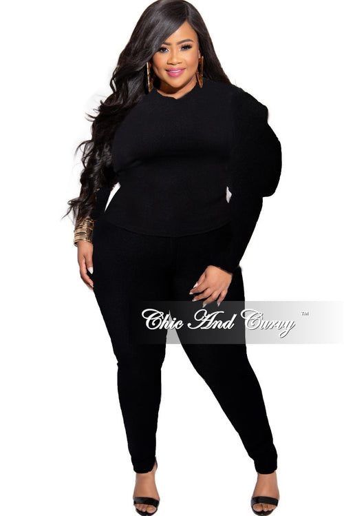 New Plus Size 2-Piece Puffy Sleeve Top and Pants Set in Solid Black