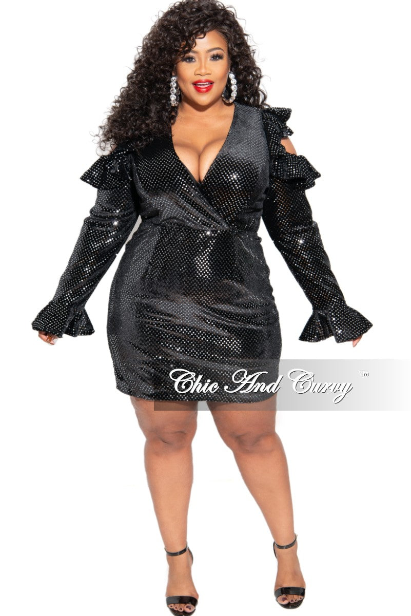 New Plus Size Sequin Mini Dress in Black