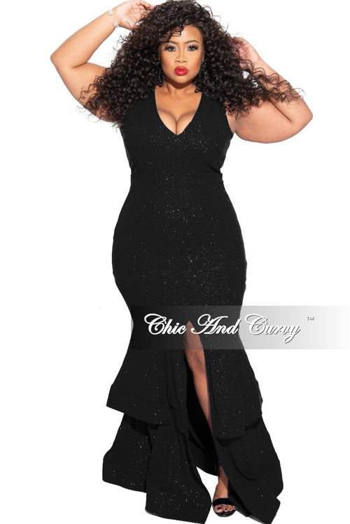 Final Sale Plus Size Ruffle Bottom Glitter Maxi Dress in Black