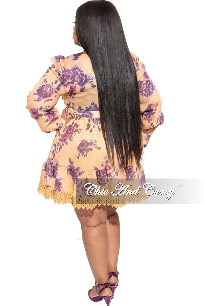New Plus Size Baby Doll Dress with Mustard and Purple Print