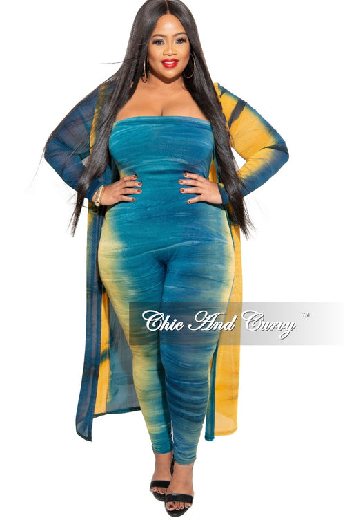 Final Sale Plus Size 2-Piece Strapless Tube Jumpsuit and Sheer Duster in Teal & Mustard