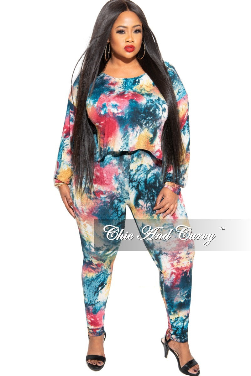 New Plus Size 2 pc Set Top & Pants in Dark Multi-Colors