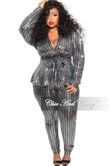 Final Sale Plus Size 2-Piece Deep V Top and Pants Set in Mirror Ball Stripes
