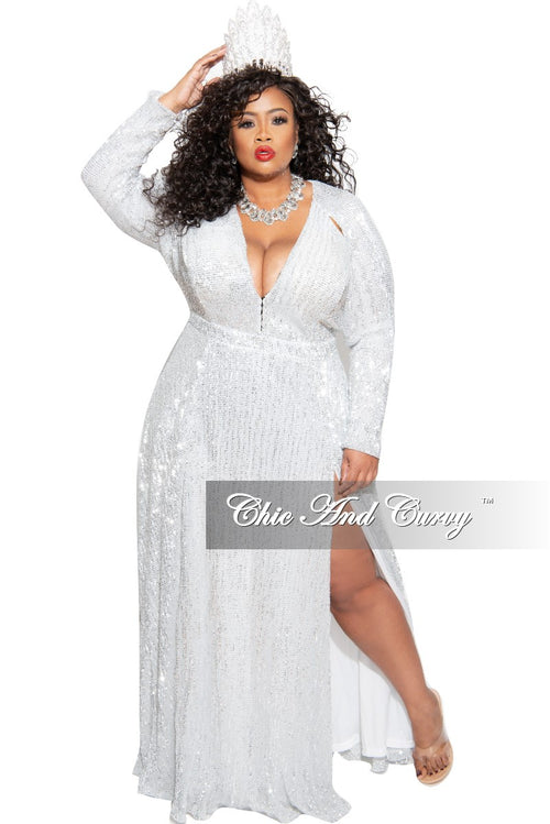 New Plus Size Sequin Gown in White & Silver