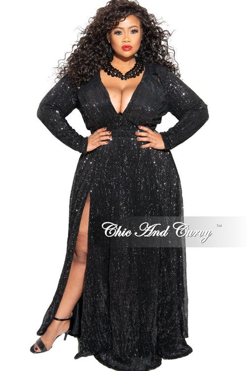 New Plus Size Sequin Gown in Black
