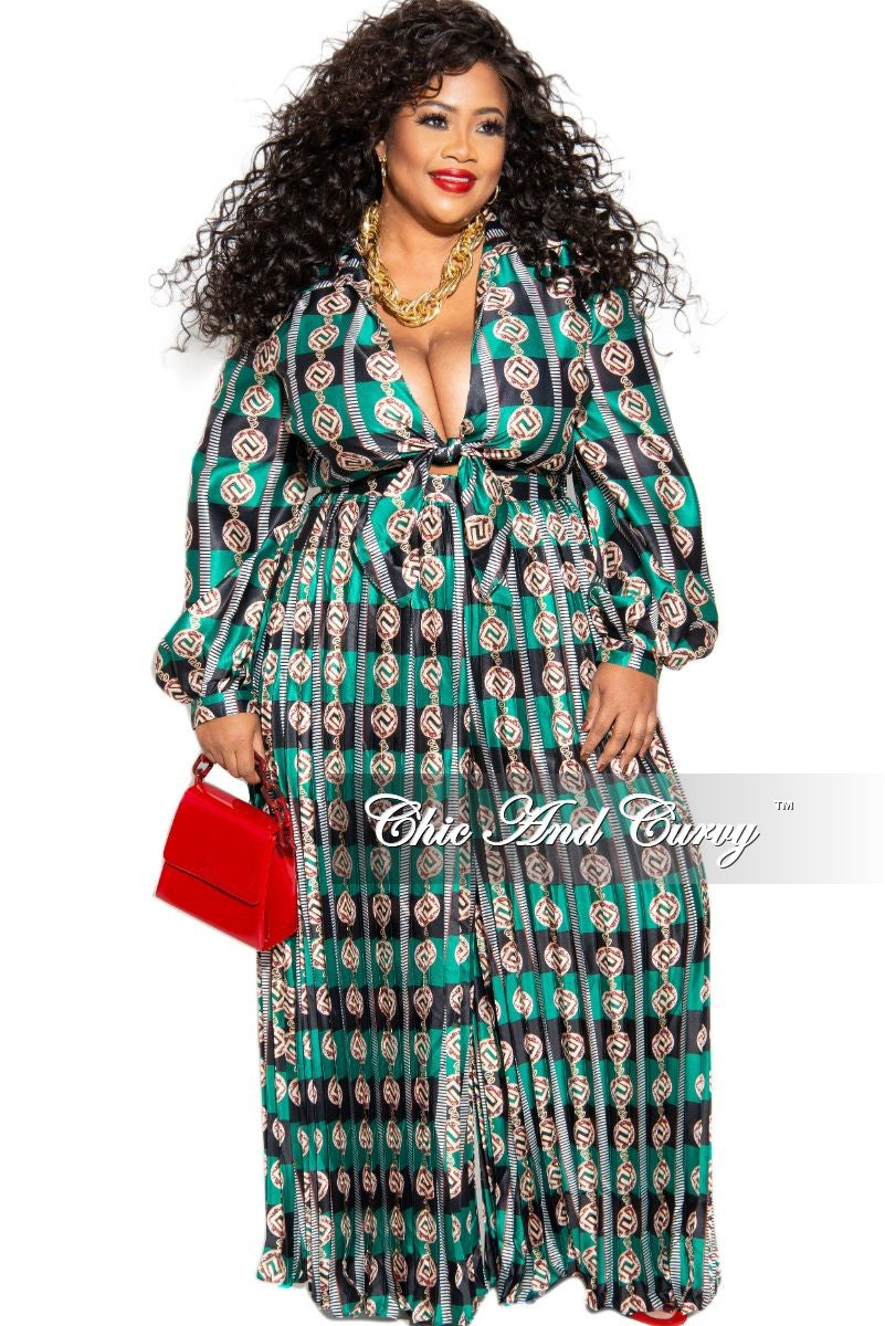 Final Sale Plus Size Cut Out Palazzo Jumpsuit in Green Print