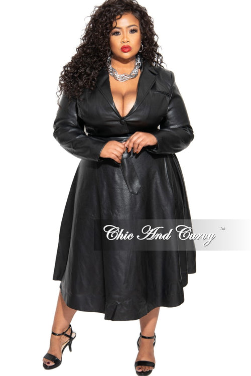 New Plus Size 2-Piece Vegan Leather Skirt Set in Black