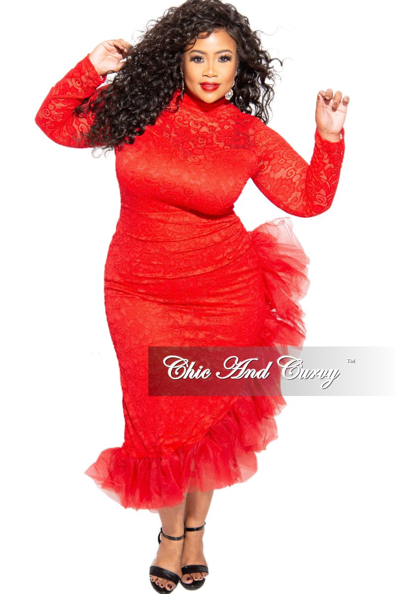 Final Sale Plus Size Midi Length Lace Dress with Tulle in Red