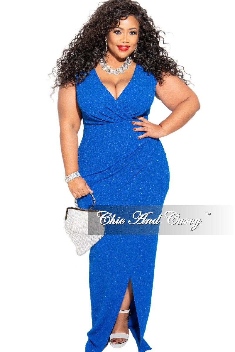 Final Sale Plus Size Glitter Maxi Gown in Royal Blue