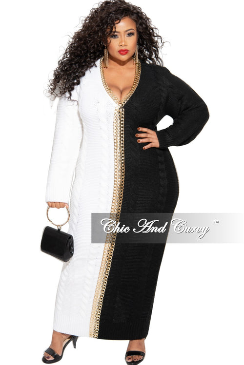 Final Sale Plus Size Half & Half Sweater Dress with Chain Details in Ivory & Black