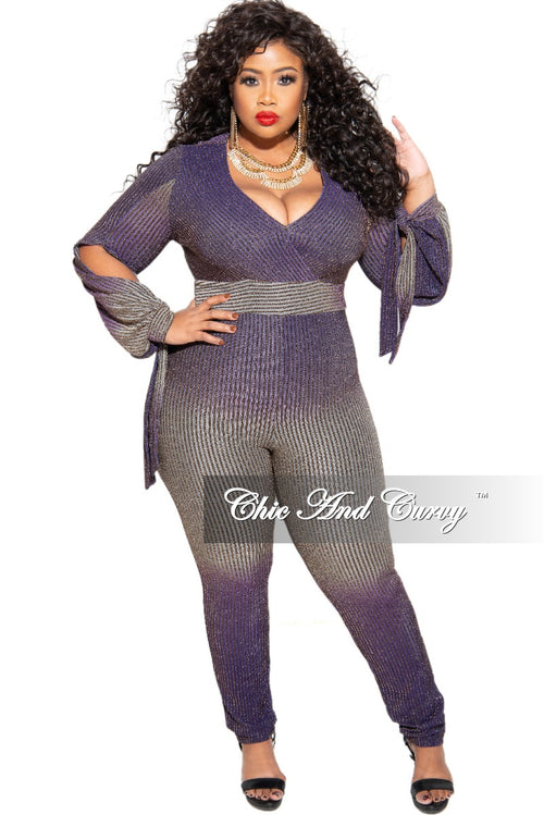 Final Sale Plus Size Ribbed Jumpsuit in Purple and Gold
