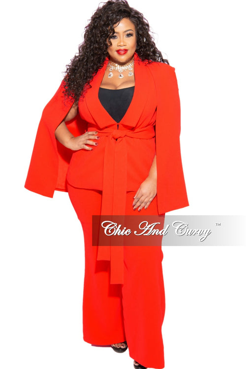New Plus Size 2-Piece Cape Pants Suit in Tomato Red