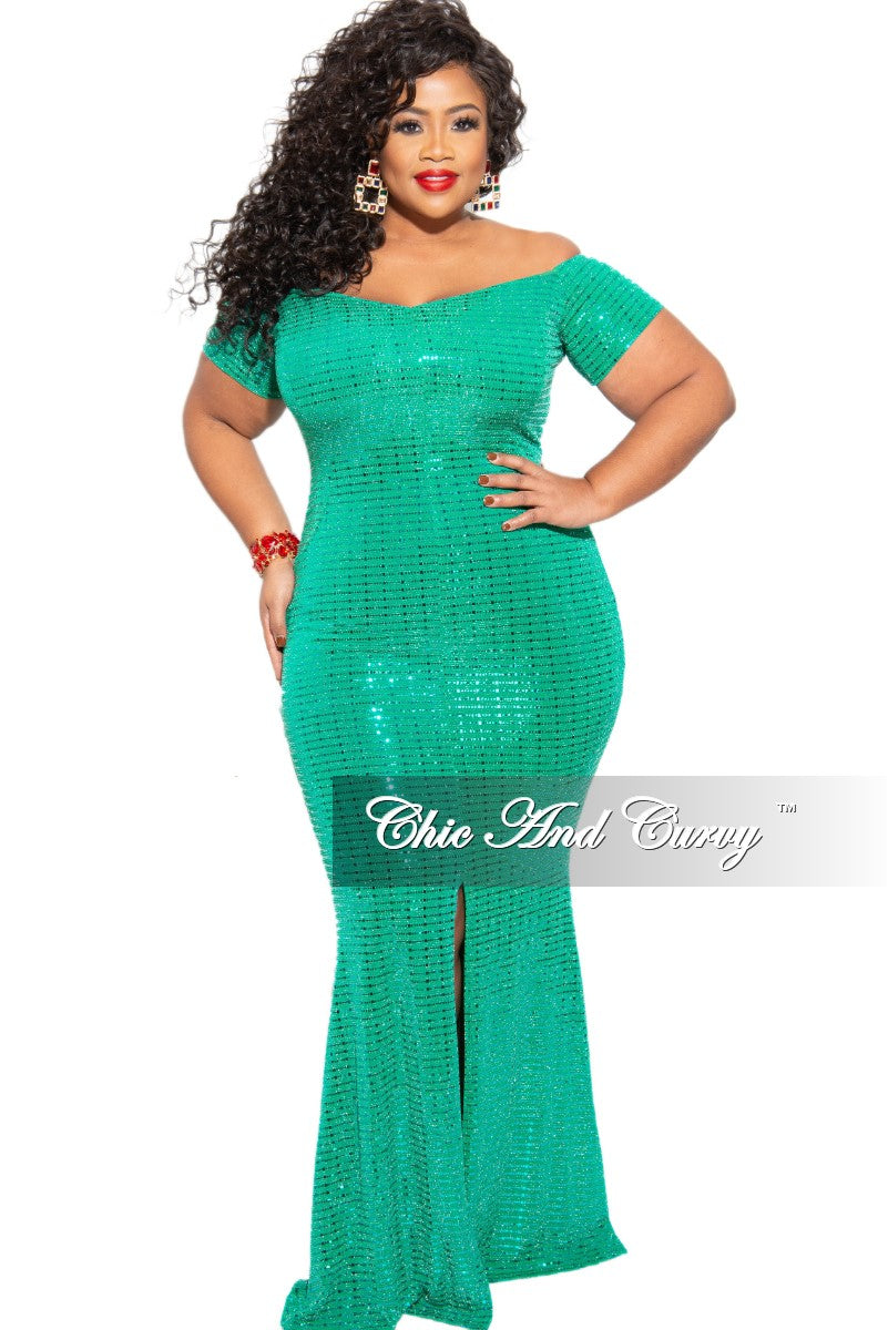 New Plus Size Faux Sequin Off the Shoulder Split Gown in Green
