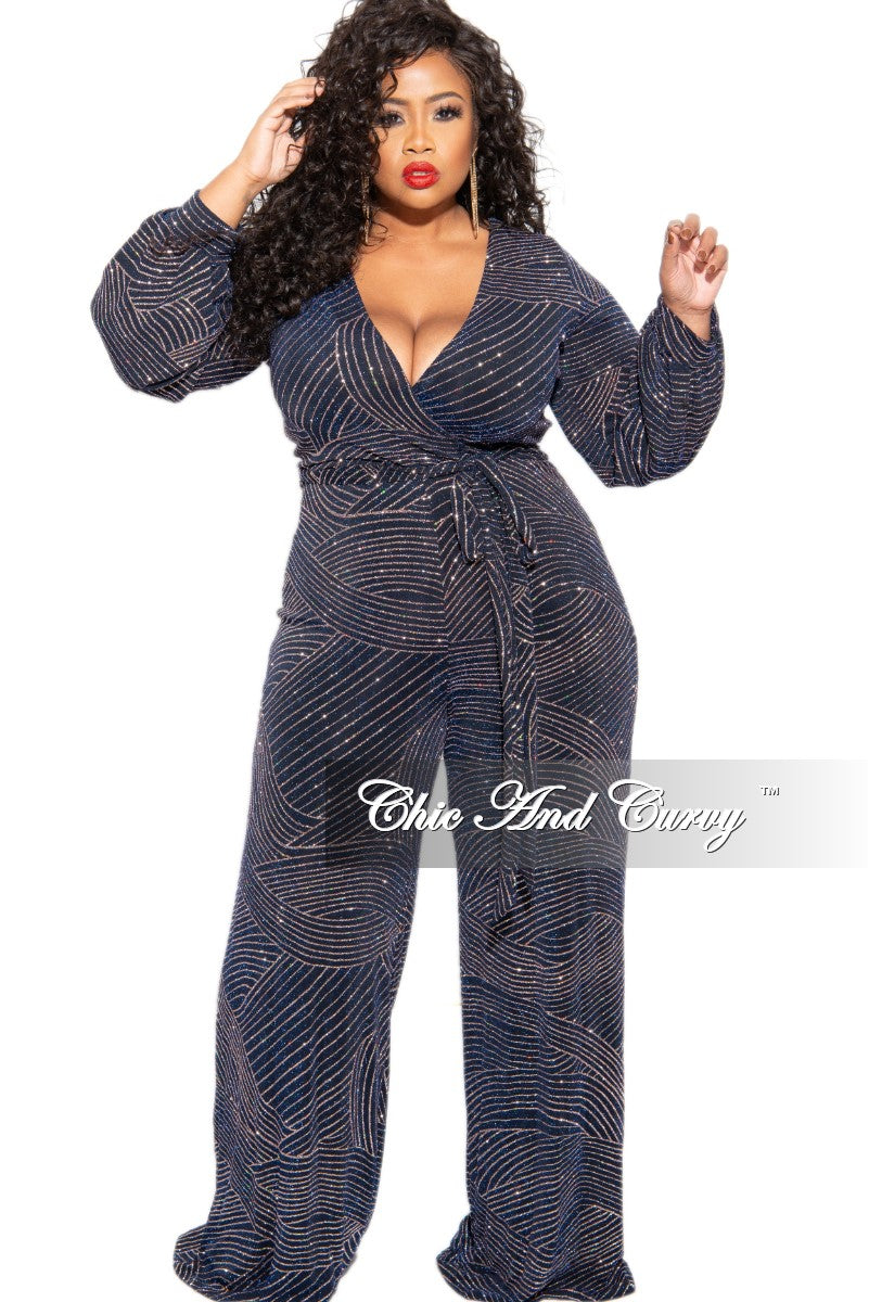 Final Sale Plus Size Glitter Faux Wrap Wide Leg Tie Jumpsuit in Navy and Rose Gold Design Print