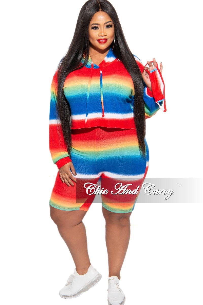 New Plus Size 2-Piece (Hoodie & Shorts) Set in Rainbow