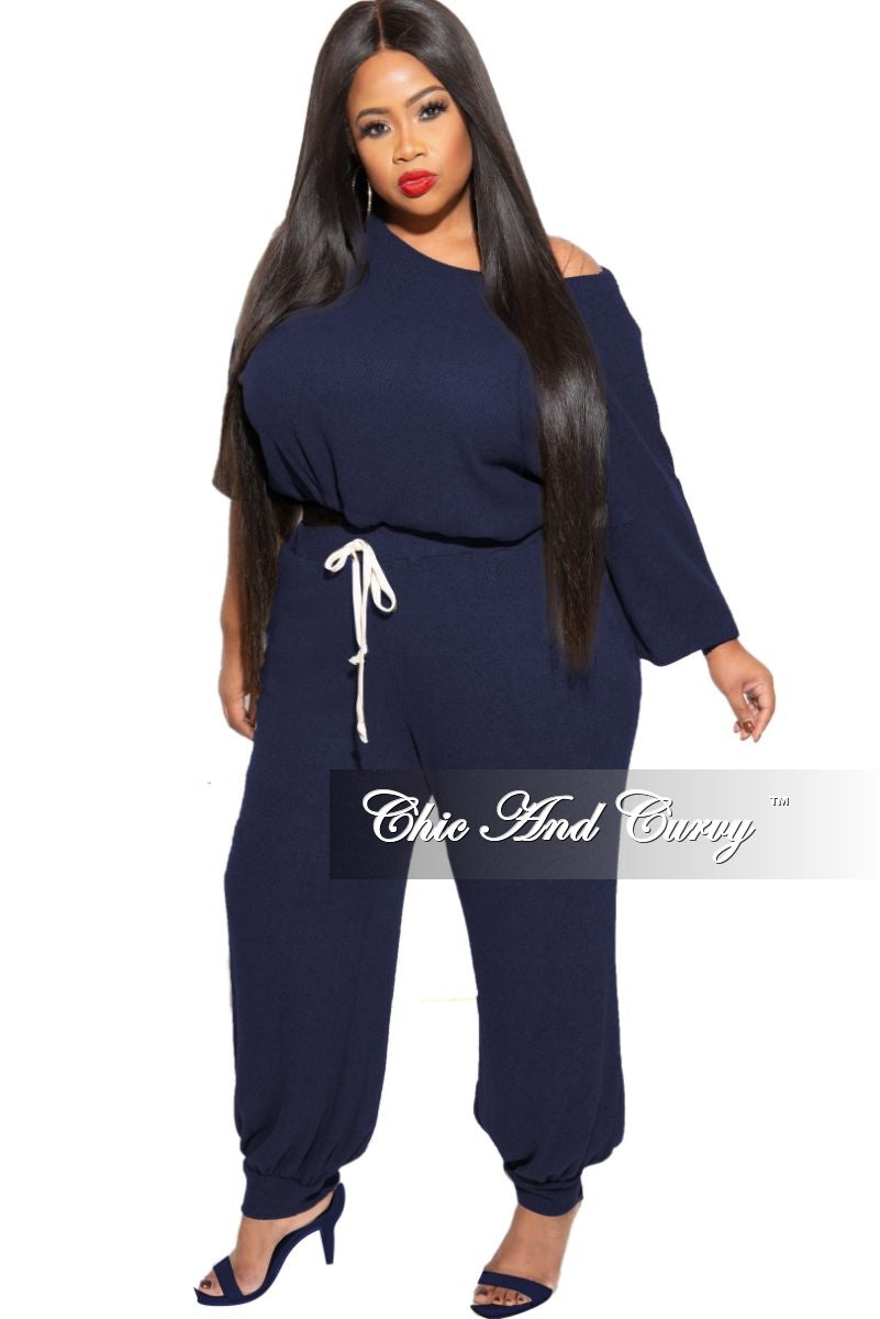 New Plus Size 2-piece Top and Pants Set in Navy