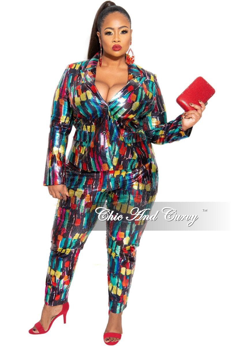 Final Sale Plus Size 2-Piece Pants Suit in Multi-Color Sequin
