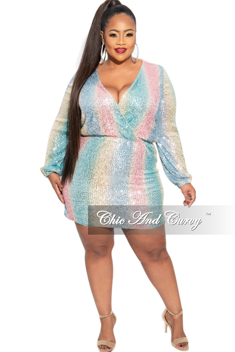 New Plus Size Faux Wrap Sequin Mini Dress in Multi Pink Blue Yellow