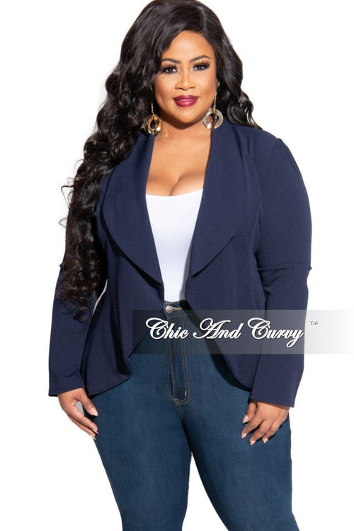 New Plus Size Blazer in Navy