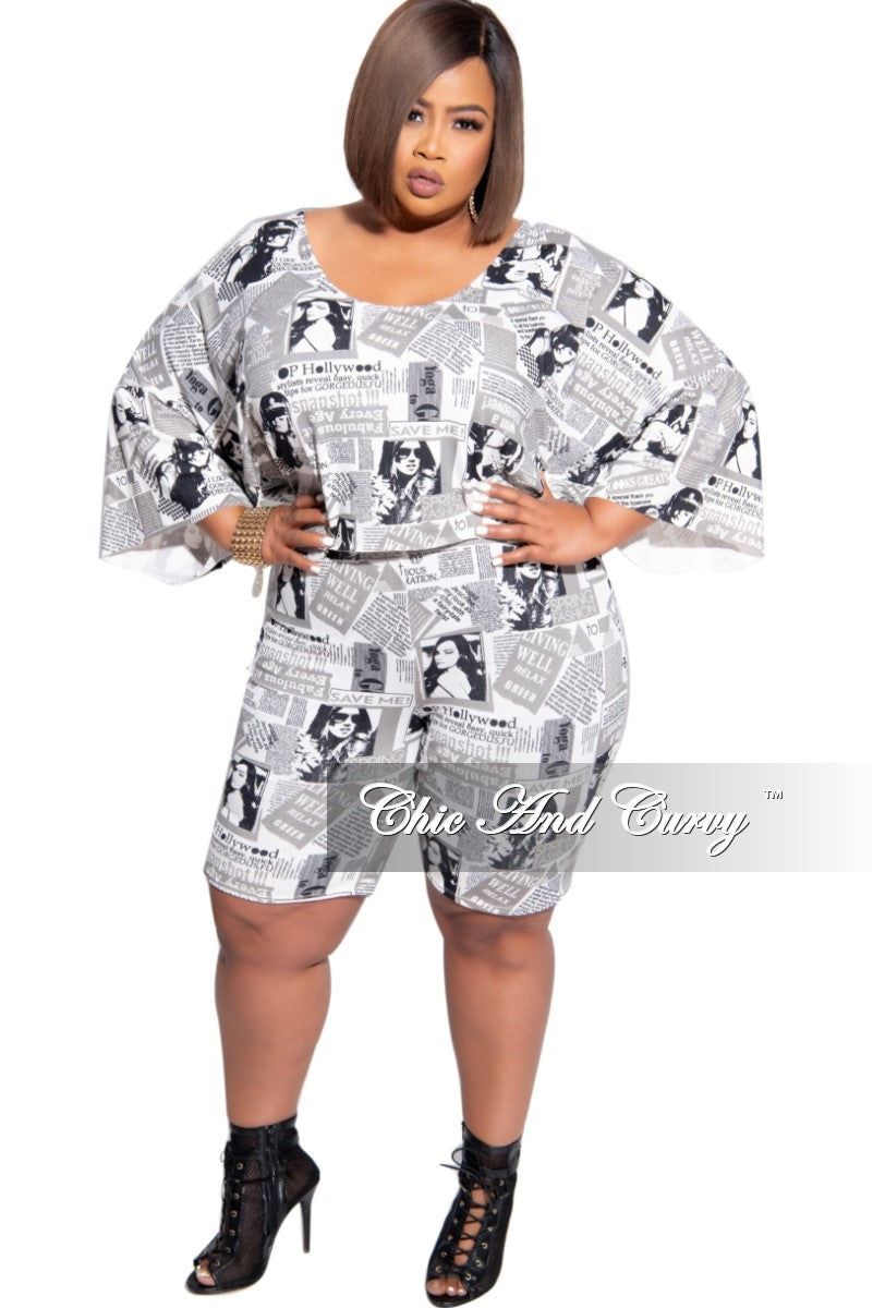 Final Sale Plus Size 2-Piece Top and Short Set in Black and Off White Newsprint