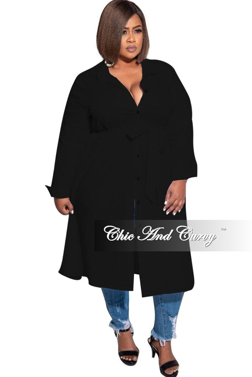 New Plus Size Shirt Dress in Black