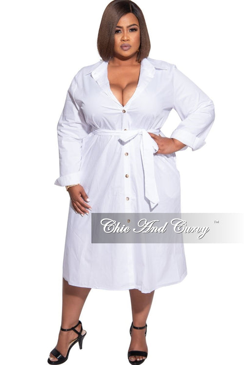 Final Sale Plus Size Shirt Dress in White