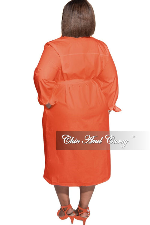 New Plus Size Shirt Dress in Orange