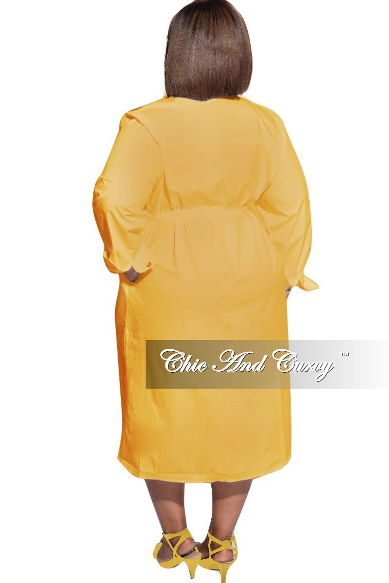 New Plus Size Tie Shirt Dress in Mustard