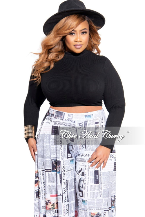 Final Sale Plus Size Turtleneck Crop Top in Black