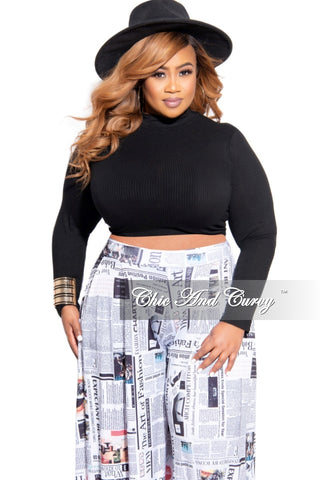 Final Sale Plus Size 2-Piece Top and Skirt Set with Sheer Bell Sleeves in Black