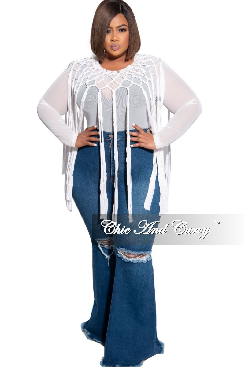Final Sale Plus Size Wide Leg Denim Jeans with Distressed Knee in Dark Blue