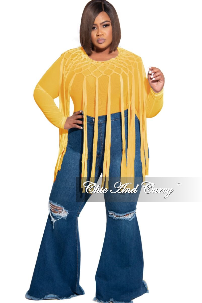 Final Sale Plus Size Sheer Mesh Crochet Fringe Bodysuit in Mustard