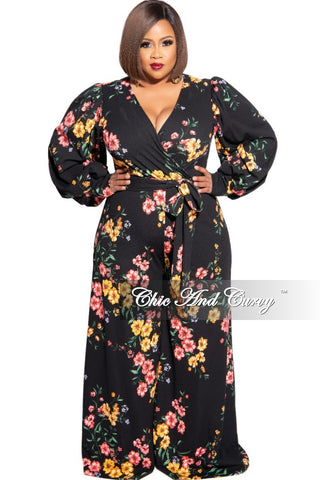 New Plus Size Faux Wrap Jumpsuit in Paisley & Animal Print