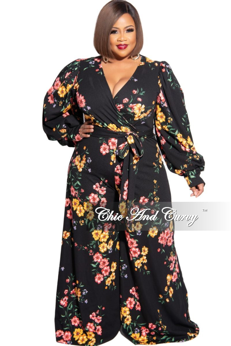 New Plus Size Faux Wrap Jumpsuit with Tie in Black Floral Print