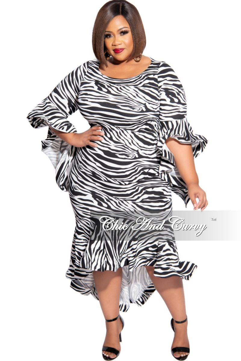 Final Sale Plus Size High-Low Dress with Ruffle Sleeves and Bottom in Black & White Zebra