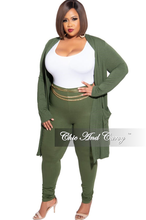 New Plus Size 2-Piece Cardigan and Legging Set in Olive