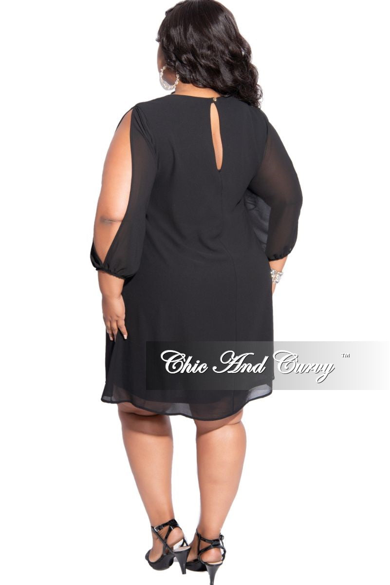Final Sale Plus Size Mini Dress in Chiffon in Black