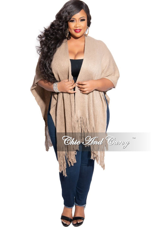 Final Sale Plus Size Fringe Trim Shawl in Tan and Gold Shimmer (One Size)