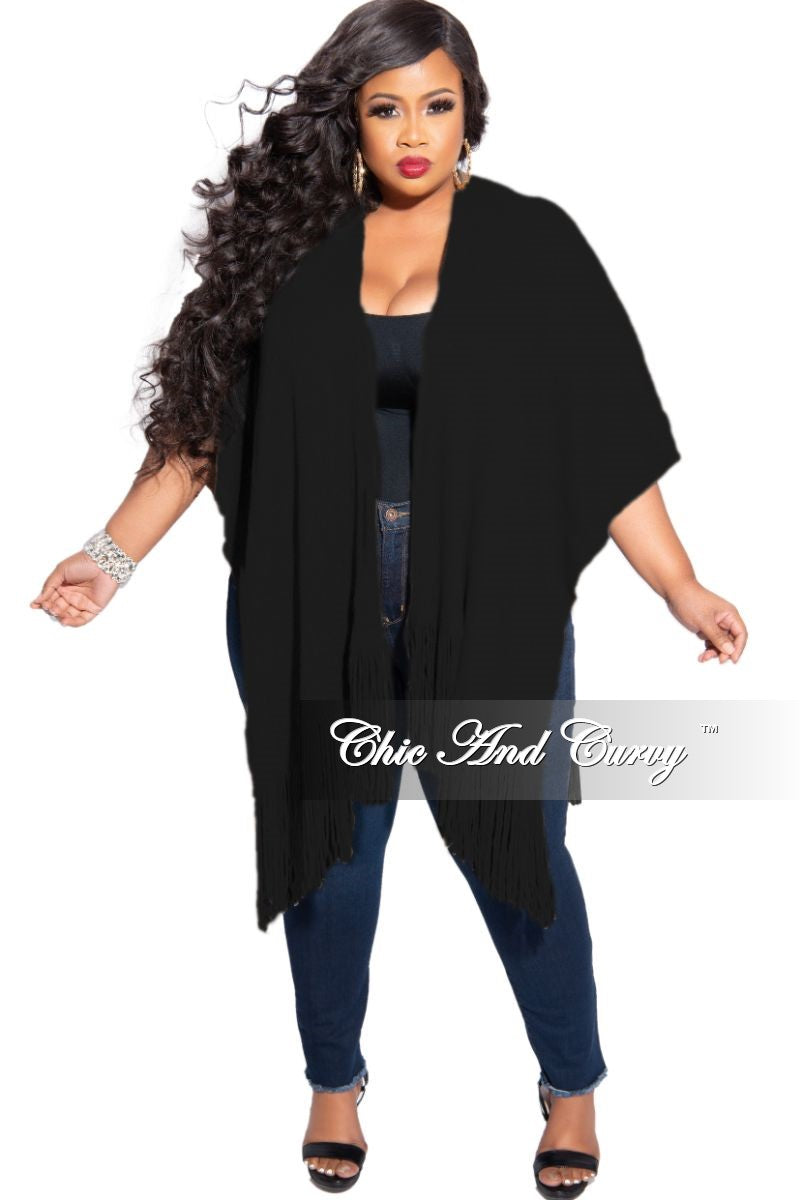 Final Sale Plus Size Fringe Trim Shawl in Black and Gold Shimmer (One Size)