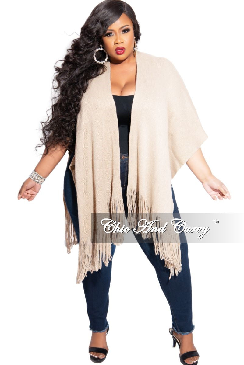 Final Sale Plus Size Fringe Trim Shawl in Ivory and Gold Shimmer (One Size)
