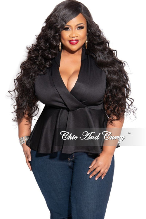 New Plus Size Scuba Faux Wrap Peplum Top in Black