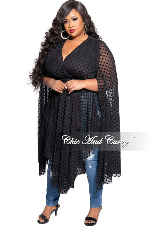 Final Sale Plus Size Exaggerated Split Bell Sleeve Lace Top or Dress in Black Polka Dot
