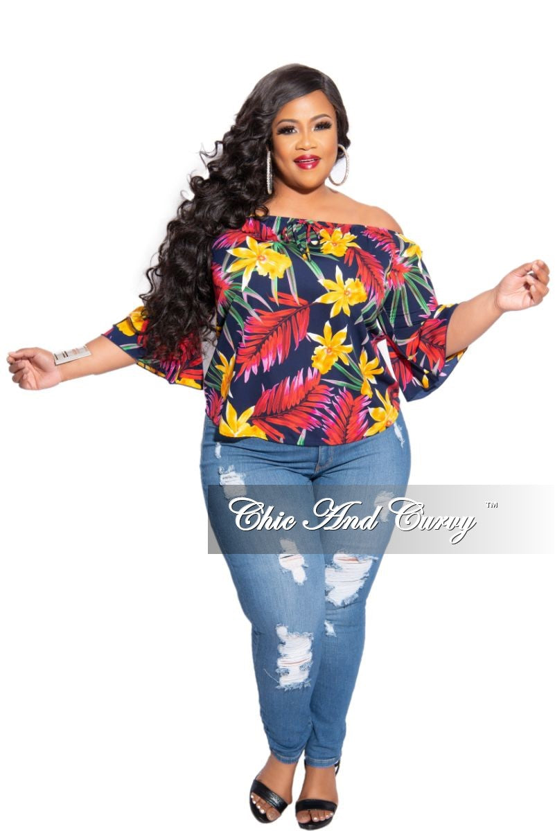 New Plus Size Off The Shoulder Top in Multi-Colored Navy Tropical Print